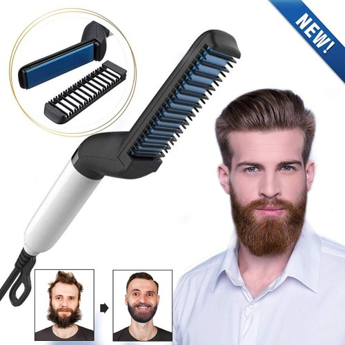 Quick Hair Straightener Brush For Men Multifunctional Styler Comb Mini Electric Hair Tool