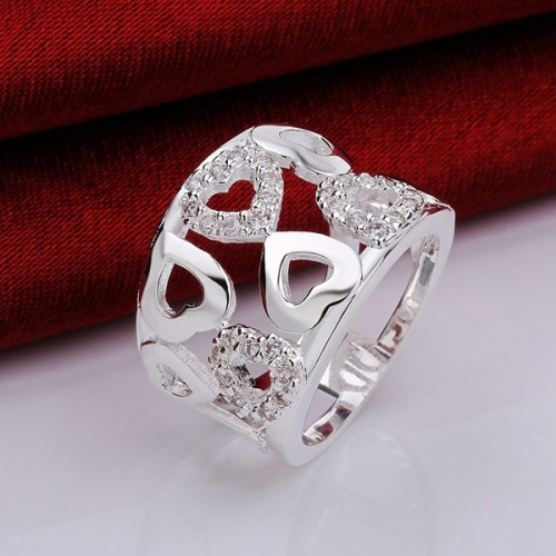 Silver plated heart fashion cute sparkling crystal love ring