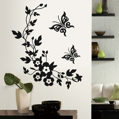 3d Wall Sticker Mural Decal Art - Flowers and Vine butterfly Wall Sticker