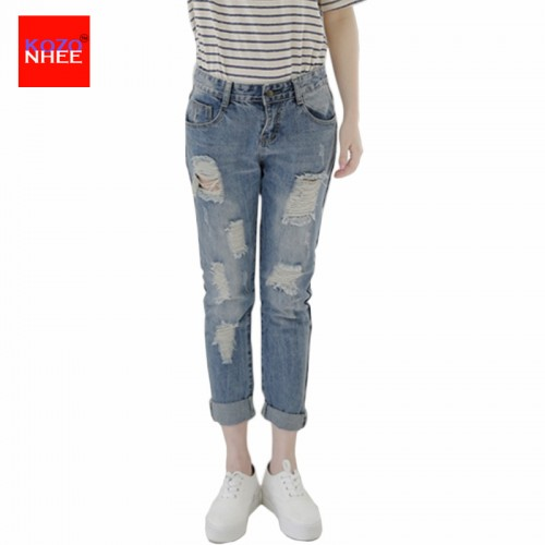Ripped Boyfriend Loose Jeans women with Low Waist