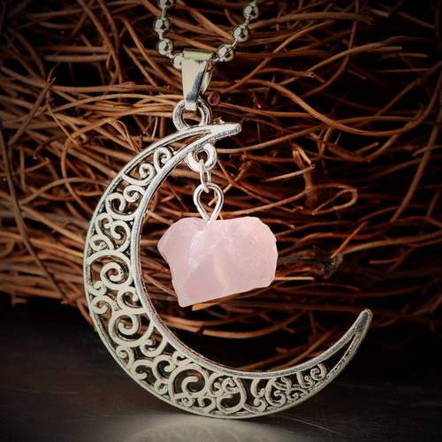 Pink Crystal Moon Phase Heart Ancient Bronze Antique Silver Pendant Necklace