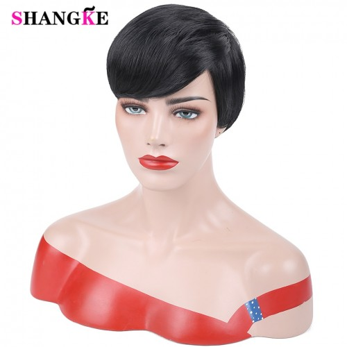 Short Black Wigs For Women Heat Resistant Synthetic Pixie Cut Wig