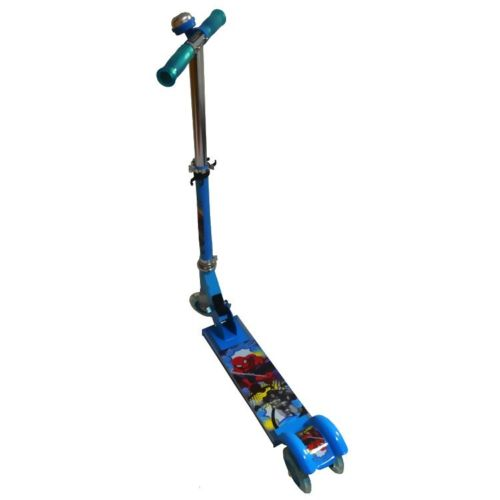 SPIDER MAN FOLDABLE SCOOTER TODDLER KIDS PUSH KICK 3 WHEEL LED RIDE ON TOY