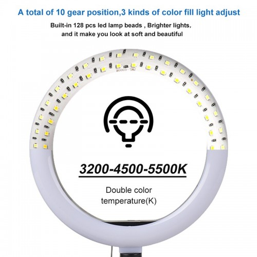 Selfie Ring Light With Stand 26cm/10inch Studio Light Dimmable 3 Modes Photography Lighting