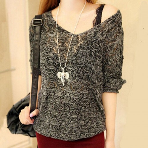 Women Basic Pullover Hollow Sweaters Loose Knit V-neck Solid Female Slit Neckline Sweater Top