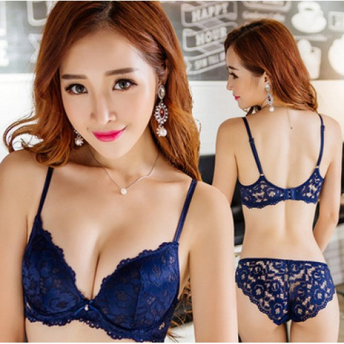 Push Up Bra Panty Set Lace Underwear Diamond Lingerie