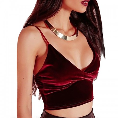 Women Sleeveless Velvet Vest Tank Top Crop Tops Casual Bra