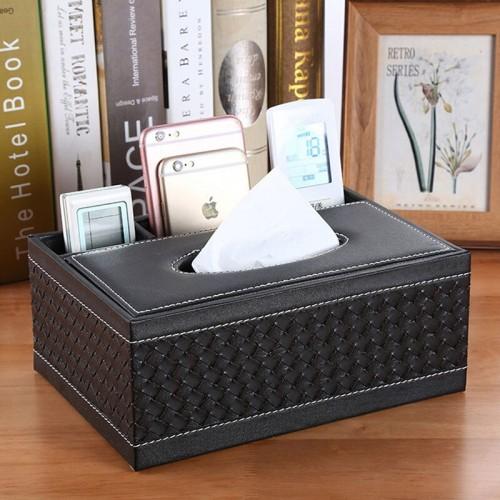Leather Tissue Box, Pen Pencil Remote Control Holder Home Desk Organizer