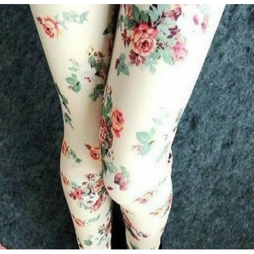 Flower Printed Leggings Slim Fashion