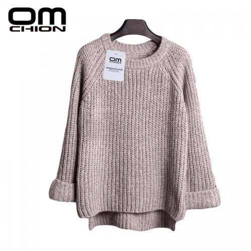 Crystal Beading Loose Round Neck Sweaters