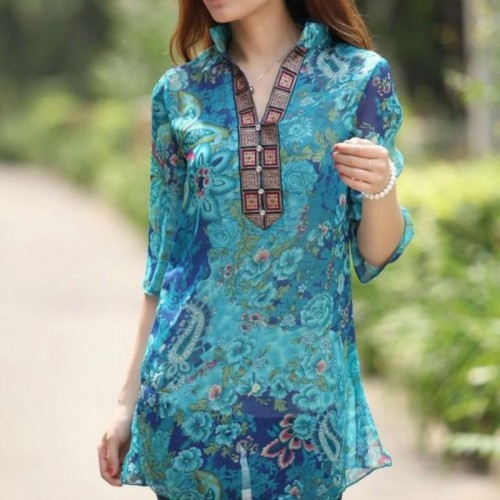 Floral Embroidery Printed Chiffon Casual Shirt