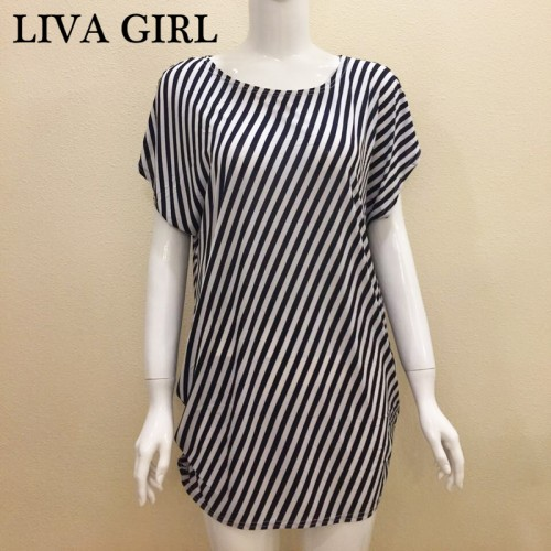 Short Sleeve Oblique Stripes Loose Casual Long Shirt