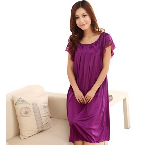 Summer short sleeve sleepwear viscose lace nightgown