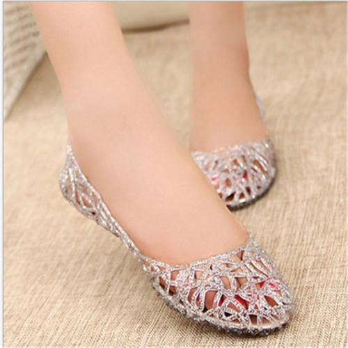 Summer Women Glitter Jelly Shoes Plastic PVC Crystal Hollow Sandals Casual Nest Fat Shoes