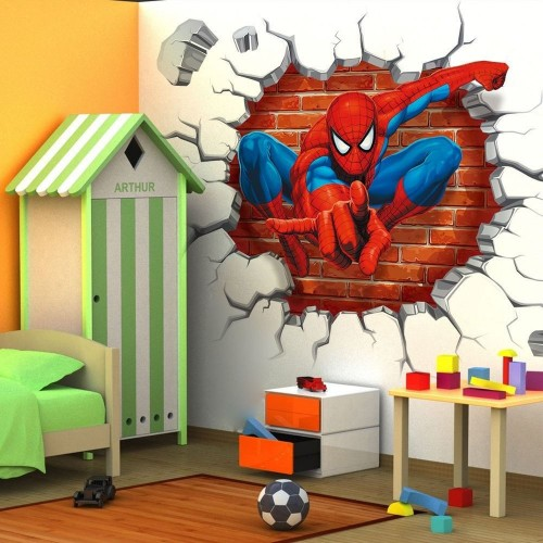 Super Hero Spider Man 3D View Wall Sticker Vinyl Art Decals Kids Room Home Decor