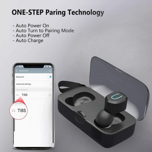 T18S Wireless Earbuds Bluetooth 5.0 TWS Mini Headset Stereo Earphones Android ISO