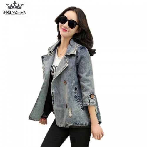 Spring Fall Girls Womens Loose Casual Denim Winter Jacket Coats Outerwear
