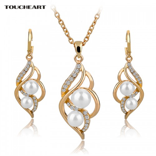 Simulated Pearl Jewelry Sets Crystal Earrings Necklaces Set