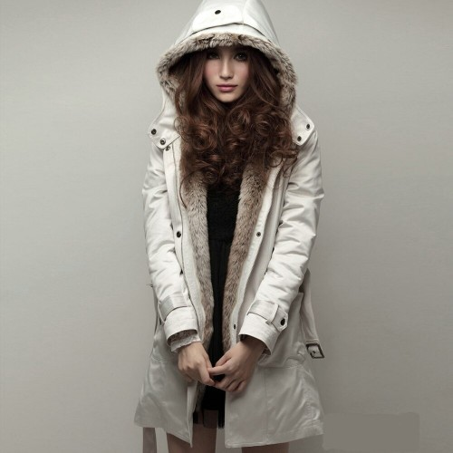 Women Winter Fur Jacket Casual Ladies Basic Coat Warm Hooded Slim Jacket Long Sleeve