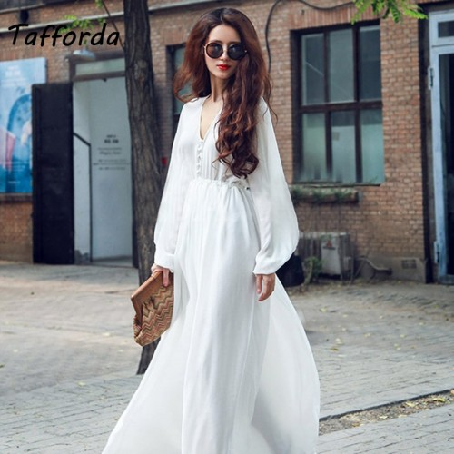 Tafforda 2018 Spring and Summer New Model  Solid Color V-neck Lantern Sleeve Long Chiffon Beach Dress Leisure Loose Large Size