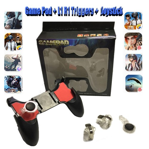 5 In 1 Mobile Phone Joystick For PUBG Free Fire Gamepad Controller Games Grip L1 R1 Triggers