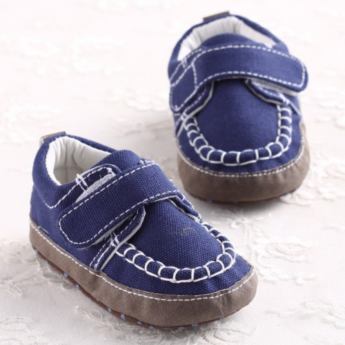 Toddler Baby boys Navy Oxford Cotton First Walker Shoes