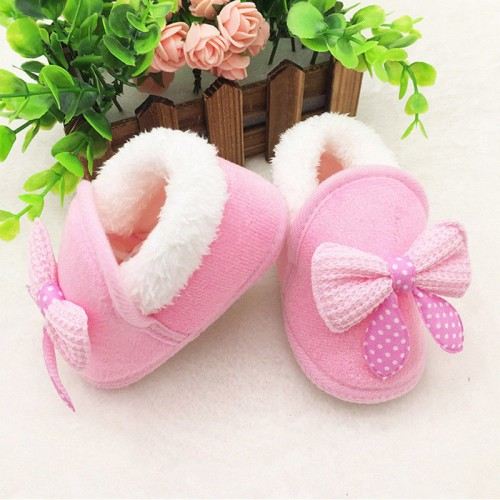 Toddler Infant Newborn Baby Cute Bow Soft Crib Sole Warm Shoes