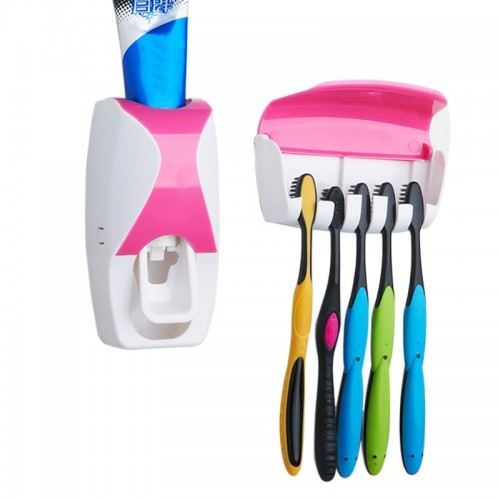 Automatic Toothpaste Dispenser and 5 Toothbrush Holder Wall Mount Stand Bathroom Tool