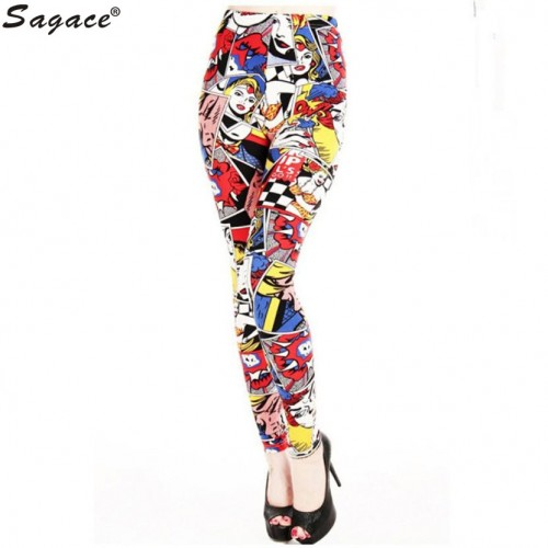 Trendy Women High Elastic Graffiti Printed Legging