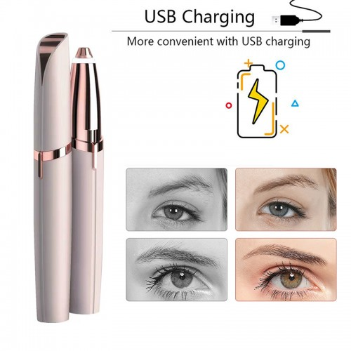 USB Recharge Electric Eyebrow Hair Trimmer Women Painless Portable Hair Remover