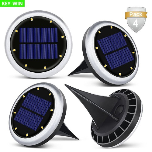 Pack Of 2 Underground Lamps 8 LED Solar Ground Lamps Waterproof Outdoor Garden Path  Lighting Decor