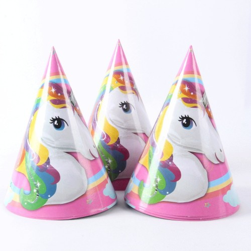 6 Pieces Unicorn Party Paper Hat Happy Birthday Decoration Supplies Theme Party Kids Caps