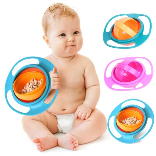 Universal Gyro Bowl 360 Rotate Spill-Proof Baby Feeding Dish Gyro Bowl Tableware