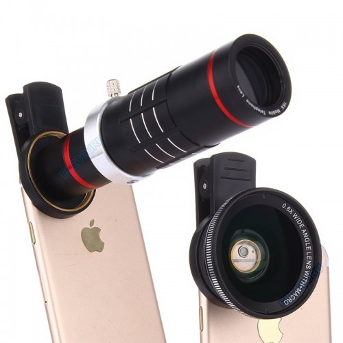 Universal HD 18x Optical Zoom Telescope Camera Lens Kit  0.6X Wide Angle 15X Macro lens For Smart Phones