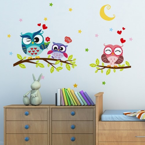 Wall Sticker For Room Decoration Removable Waterproof Cartoon Animal Owl Kids Home Decor Wallpaper