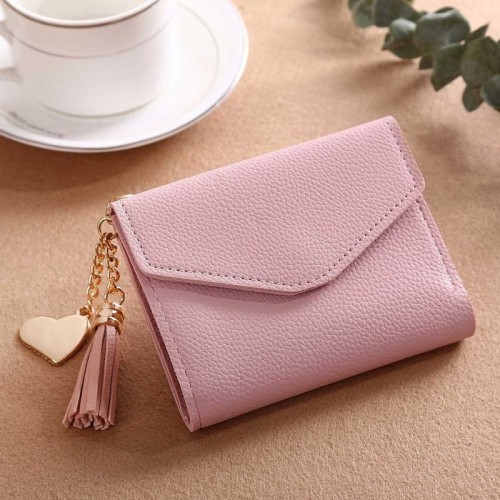 Wallet Female For Coins Cute Tassel Decor Small PU Leather Credit/ID Cards Holder Purse Money Pockets