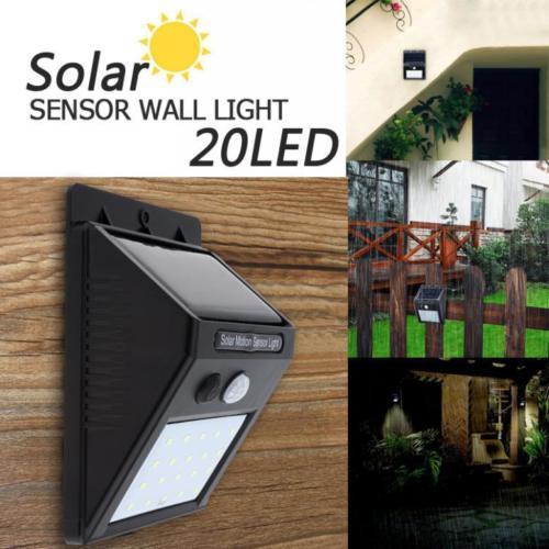 20 LED Waterproof Solar Power Motion Sensor Wall Light Outdoor Garden