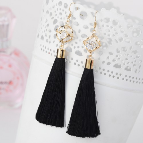 Tassel Crystal Alloy Dangle Long Earrings