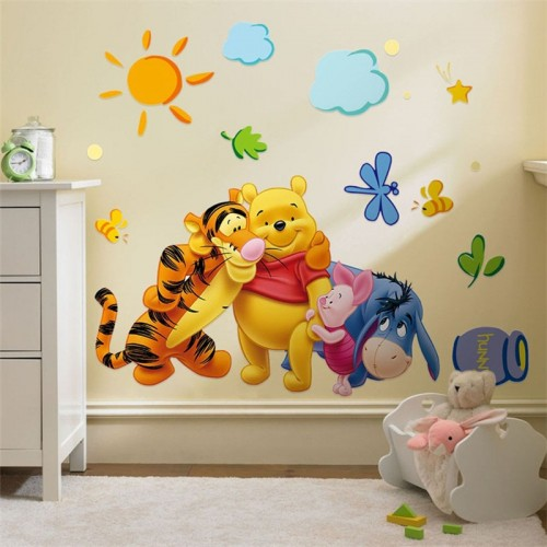 Winnie The Pooh Friends Wall Stickers For Kids Rooms Decorative Sticker Removable Pvc Wall Decal