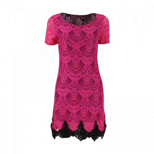 Red Hollow Out lace Short Sleeve Mini Vestido Dress