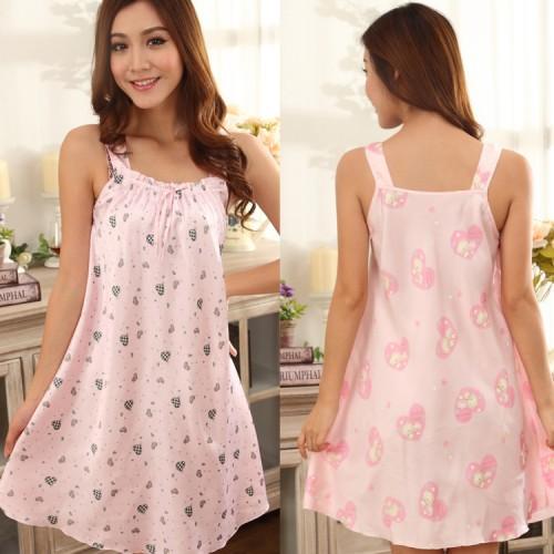Rayon Silk Pink Sleepwear