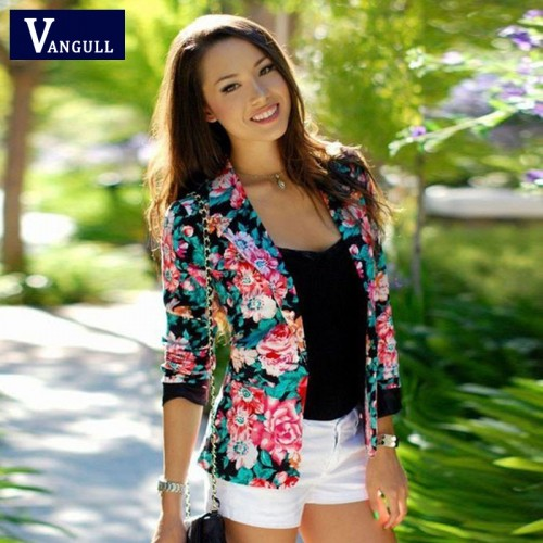 Floral One Button Blazer