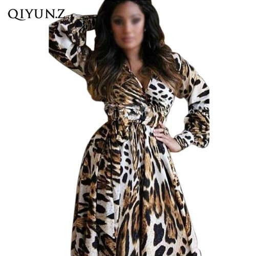 Long Sleeve Deep V Neck Leopard Loose Chiffon Maxi