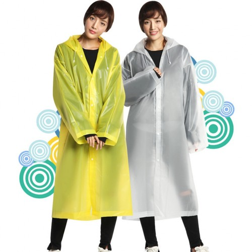 Women Man EVA Raincoat Waterproof Rain Poncho Coat Adult Clear Transparent Hoodie Rainwear Suit