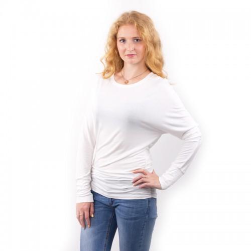 Women O neck Two sides Shirring Casual T-shirt