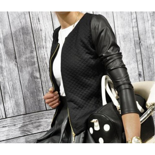 Casual Long Sleeve Chic Zipper Patchwork Jacket