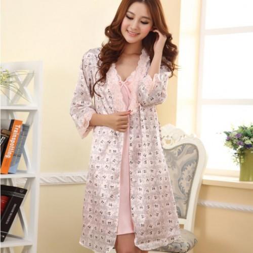 Women Set Robe Sleepwear Nightgown Babydoll Dress