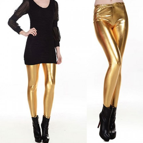 Women Shiny Silver Golden Faux Leather Stretch Leggings
