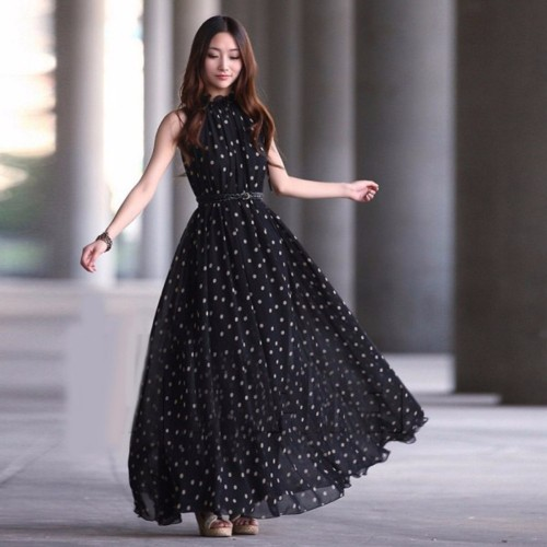 Women Summer Dot Dress Boho Long Maxi Chiffon Dress Sleeveless Polka Dress With Belt