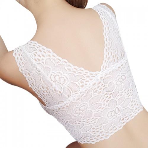 Women Lingerie Sling Beauty Back Tube Top V-Neck Lace Chest Pad Bra
